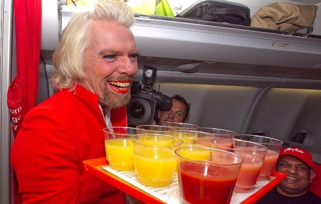 Richard Branson as stewardess